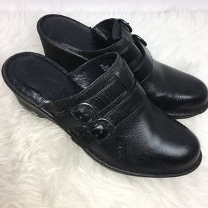 Born Womens Size 9 M Clog Mules Black Leather